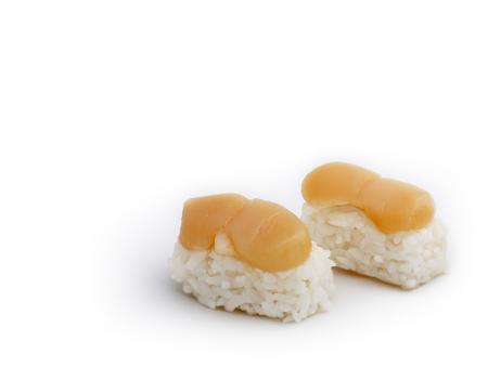 hotate: Japanese food: delicious Hotate (scallop) Nigiri Sushi isolated on white background.