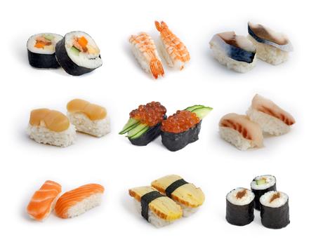 hotate: Different types of sashes isolated on white background (Futomaki, Sakemaki, Kappamaki, Ikura, Tamago, Ebi, Toro, Sake, Hotate and Saba).