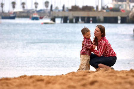 Mother and son playing together outdoors Stock Photo - 1833283