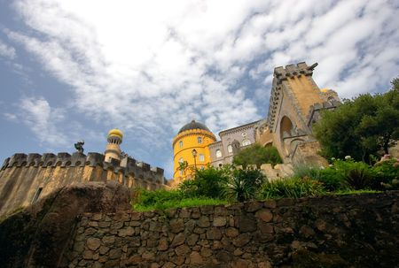 sintra: Pena National Palace in Sintra, Portugal is a part of the Cultural Landscape of Sintra, recognised as UNESCO World Heritage Site Stock Photo