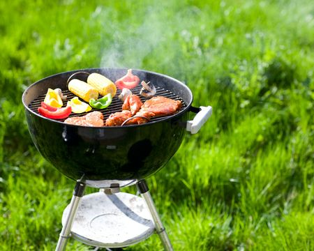 Grilling at summer weekend. Fresh meat and vegetables preparing on grill. Stock Photo - 3055269