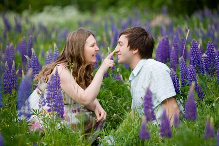 Romantic photo of young attractive couple photo