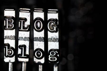 typewriter key: Word BLOG composed from keys of vintage typewriter