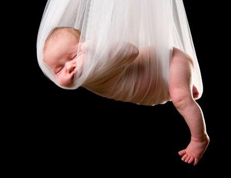 cigue�a: Stork beb� paquete. 14 d�as de vida del reci�n nacido ni�a llevada en tela blanca  Foto de archivo