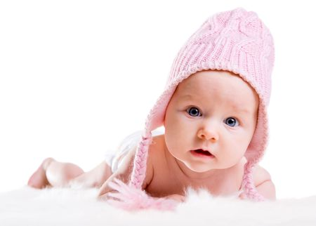baby girls: Portrait of three months old baby girl wearing pink winter hat