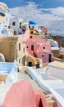 Beautiful traditional village Oia at island of Santorini, Greece photo