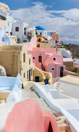 santorini greece: Beautiful traditional village Oia at island of Santorini, Greece