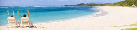 tropical paradise: Panoramic photo of happy couple in tropical paradise