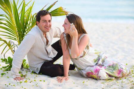 Romantic couple on white sand tropical beach. Stock Photo - 4524953