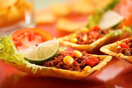 tex: Delicious tex-mex tortillas with minced meat.
