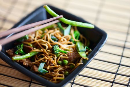 cooked meat: Delicious freshly cooked meat wok on white plate Stock Photo