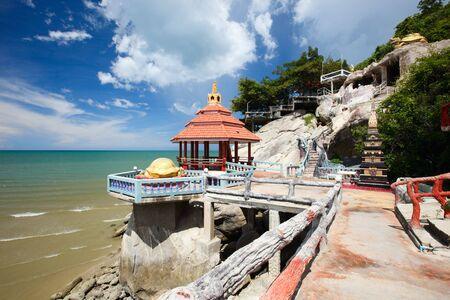 khao: Beautiful temple complex and beach in Khao Tao near Hua Hin, Thailand Stock Photo