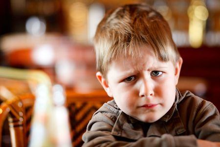 angry person: Lifestyle portrait of 4 years old angry boy