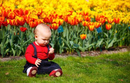 Baby girl sitting near tulip flowers in beautiful garden photo