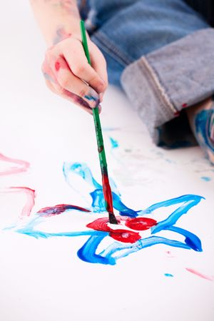Macro photo of  5 years old boy painting on white background Stock Photo - 5756844