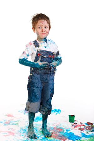 Cute 5 years old boy painting on white background Stock Photo - 5774483