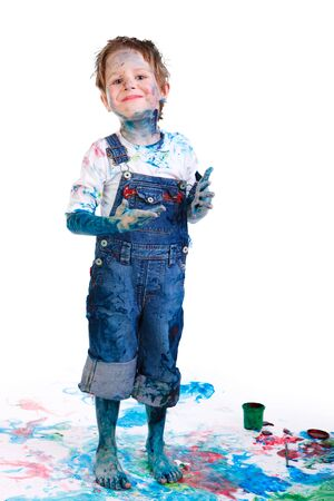 Cute 5 years old boy painting on white background Stock Photo - 5938482
