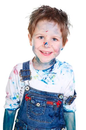 Cute 5 years old boy painting on white background Stock Photo - 5938485