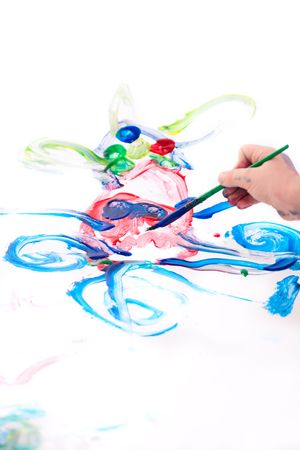 5 years old boy drawing octopus on white background Stock Photo - 6182685