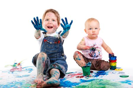 Cute 5 years old boy and toddler girl painting on white background Stock Photo - 6192480