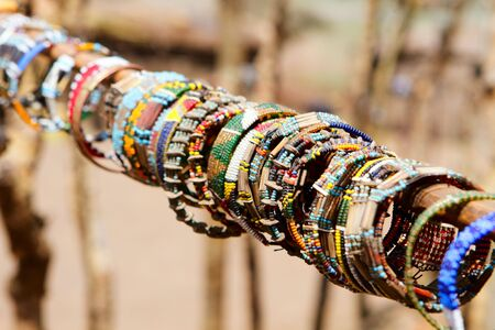 Colorful traditional jewelry of Masai tribe photo