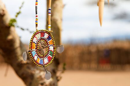 masai: Colorful traditional jewelry of Masai tribe Stock Photo