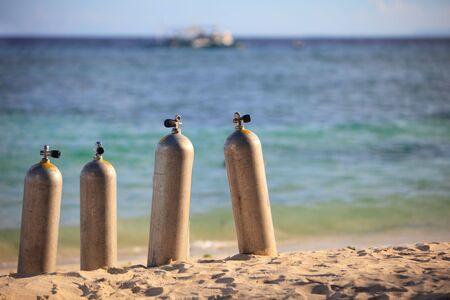 Scuba tanks on tropical beach of Panglao island, Philippines photo