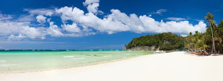 Perfect tropical white sand beach in Boracay, Philippines photo