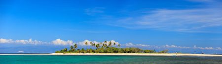panoramic beach: Panoramic photo of beautiful tropical island Stock Photo