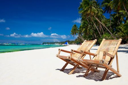 boracay: Two beach chairs on perfect tropical white sand beach in Boracay, Philippines