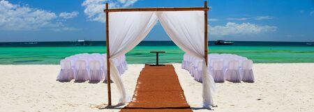 gazebo: Preparation for wedding reception in tropical paradise