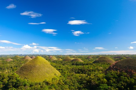 natural landmark: Bohol Chocolate Hills natural landmark in Philippines Stock Photo