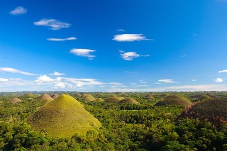Bohol Chocolate Hills natural landmark in Philippines Stock Photo