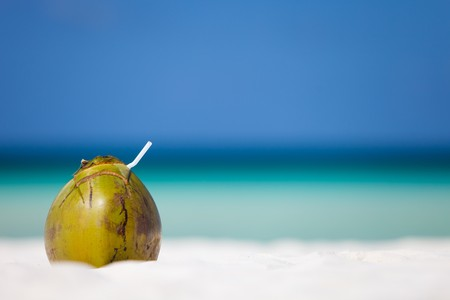 Coconut on perfect white sand tropical beach