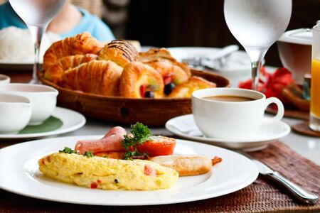 continental: Delicious omelette with vegetables served for breakfast