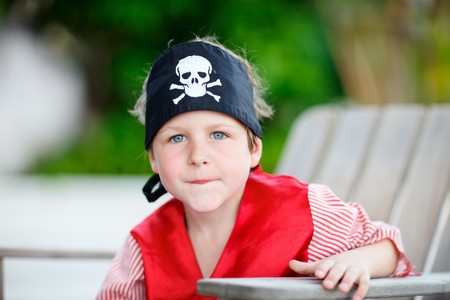 Outdoor portrait of cute boy dressed as pirate Stock Photo - 7351393