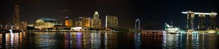 riverside landscape: Panorama of Singapore city skyline at night Stock Photo