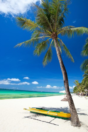 unspoilt: Perfect tropical white sand beach in Boracay, Philippines