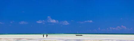 beautiful exotic white sand beach in Zanzibar, Tanzania photo