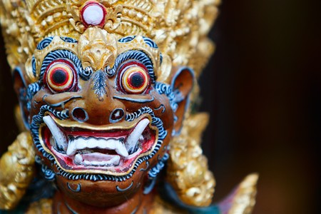 bali: Closeup of Balinese God statue in temple complex