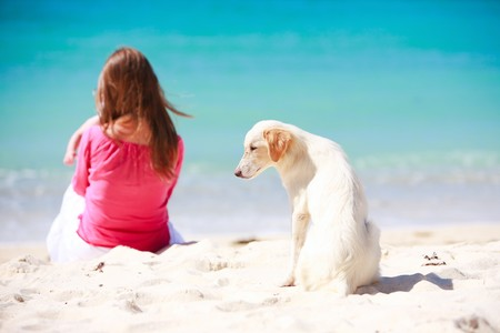 White dog sitting on tropical beach with woman and baby on background
