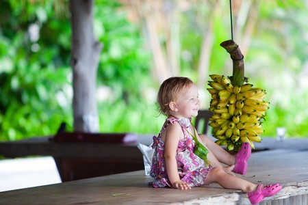 Adorable toddler girl outdoors with bunch of bananas photo