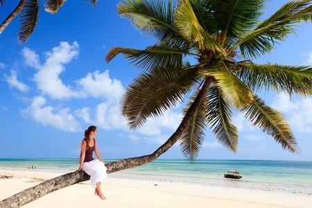 Joven sentado en el árbol de Palma en la playa de exótico