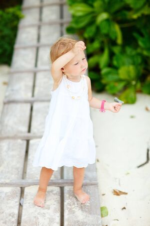 Casual full body portrait of toddler girl on summer day Stock Photo - 7819144