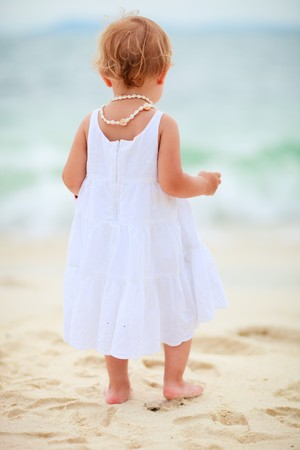 Back view of toddler girl standing at tropical beach facing ocean photo