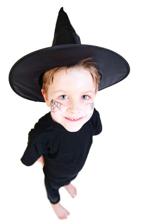 Funny photo of cute boy dresses for Halloween isolated on white photo