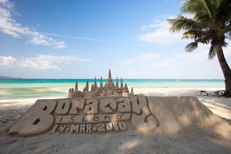 boracay: Sand castle on tropical white sand beach in Boracay, Philippines