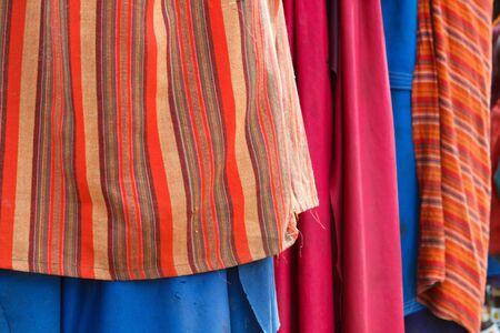 Closeup of colorful textile of Masai tribe in Tanzania photo