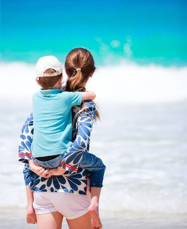 Mother and son portrait on beach vacation Stock Photo - 8610861