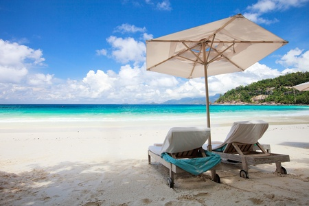 beach chairs: Beach chair on perfect tropical white sand beach